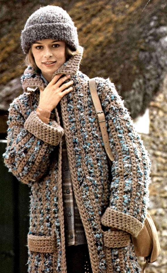 Crochet Coat Pattern .. Ladies Striped Coat .. Instant Download .. Stylish, Smart, Casual or Dressy .. PDF Crochet Pattern