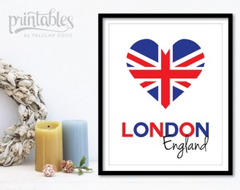 Printable London Art - Digital British Flag Art Print - London Poster - London Wall Art - London Print - Instant Download - London England