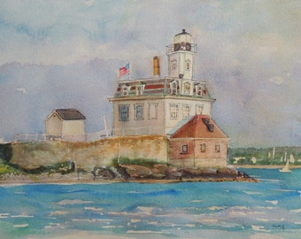Print Newport Rhode Island Original Watercolor Rose Island Lighthouse Historic Seascape Coastal Art Landscape New England Art