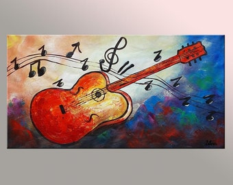 Original Painting, Guitar Painting, Abstract Art, Wall Art, Oil Painting, Canvas Painting, Large Painting, Music Painting, Abstract Painting