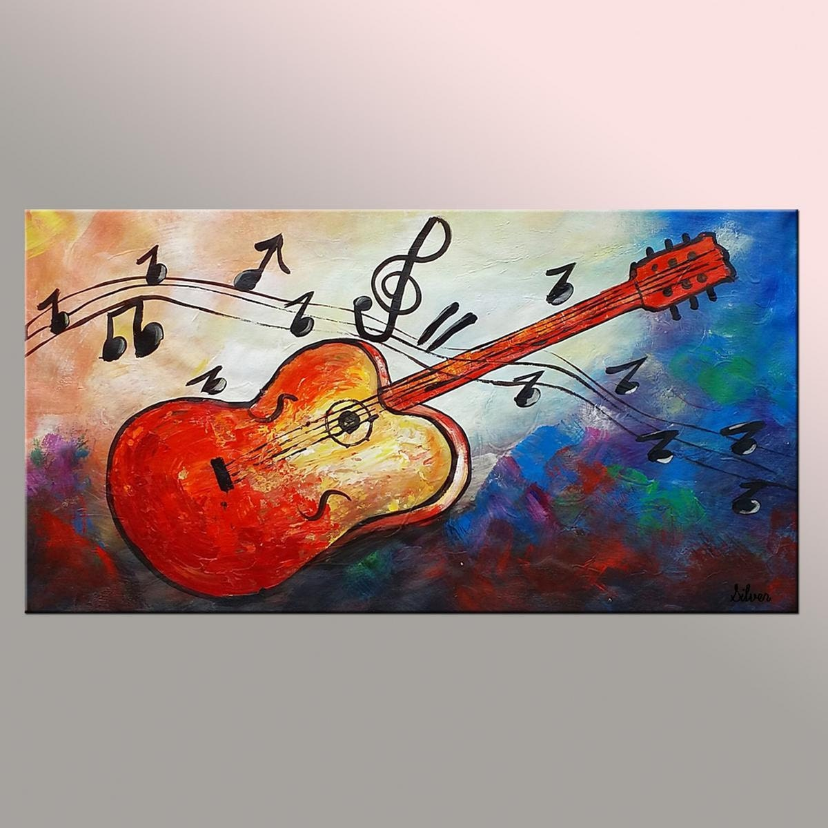 original painting guitar painting abstract art by texturepainting. Black Bedroom Furniture Sets. Home Design Ideas
