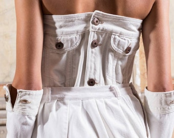 SALES / SALES - Recycled denim corset white / corset in recycled white cowboy - #007A