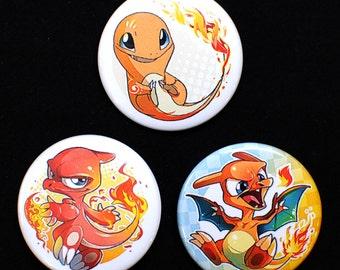 Button Pokemon Charmander / Charmeleon / Charizard