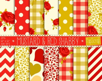 """Shabby chic digital paper : """"Mustard & Red Shabby"""" rose digital paper with red roses on creamy, red and mustard background, decoupage paper"""