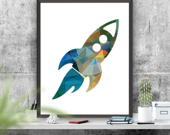Rocket Ship Art Print Nursery Art Colourful Rocket Printable Origami Effect Rocket Art Boys Room Decor  Instant Download Poster