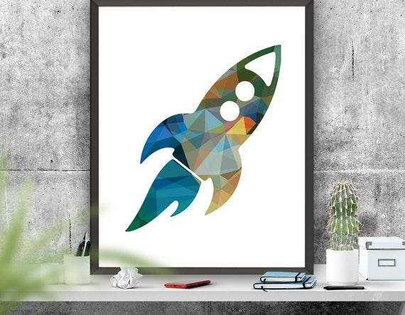 Rocket Ship Art Print Nursery Art Colourful Rocket Printable