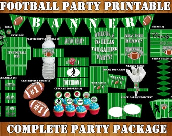 Football Party- Football Birthday, Football Party Decorations, Printable Party- Tailgate Party Complete Party Package