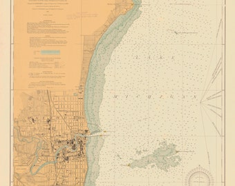 Lake Michigan - Racine Harbor Historical Map 1914