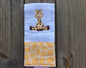 Baby Boy or Girl Burp Cloth with Giraffe ~ Personalization Optional