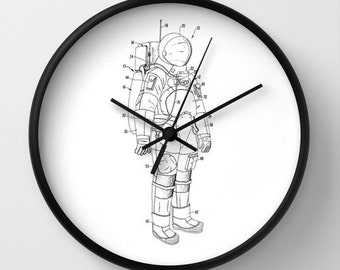 Clock, Clock Spacesuit, Spacesuit Patent Clock, Modern Clock, The Spacesuit Clock, Spacesuit  clock, Spacesuit clock