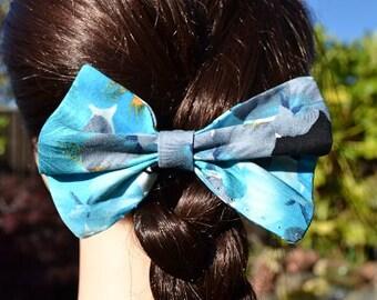 Blue Floral Hair Bow, Hair Bow Clip, Hair Bow for Girls, Girls Hair Clip, Blue Hair Bow, Floral Hair Bow, Hair Accessories, Blue Hair Clip
