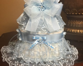 Two tier diaper cake - Blue diaper cake for baby boy