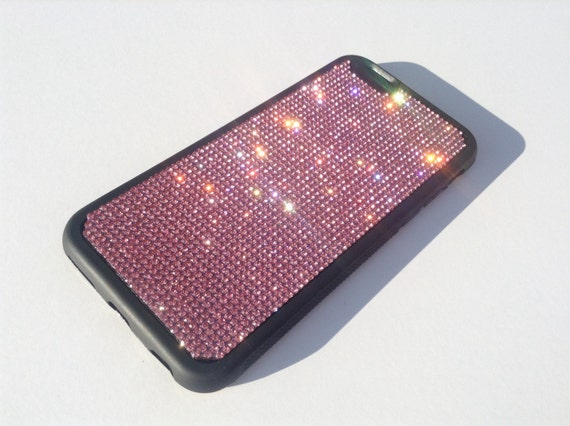 "iPhone 6 / 6s 4.7"" Pink Diamond Rhinestone Crystals on Black Rubber Case. Velvet/Silk Pouch Bag Included, Genuine Rangsee Crystal Cases"