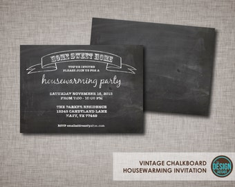 Vintage Distressed Black & White Chalkboard Art Housewarming Party Invitation