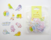 70 Japanese lovebird sticker flakes - kawaii pastel colors - pet parakeet - cockatiel - budgies & finches - yellow and white birds cuddling