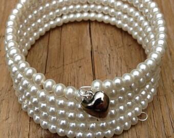 Ivory pearl bracelet, ivory bead memory wire bracelet, ivory beaded wrap bracelet, cream and silver bracelet, imitation pearls, bridal wrap