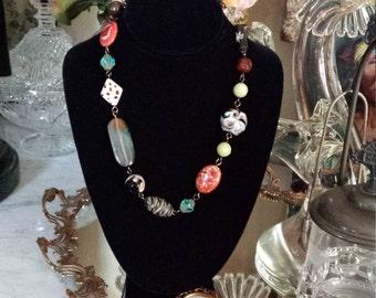 One strand Semi-precious stone necklace
