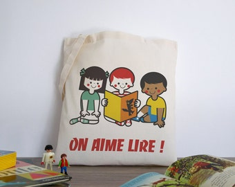 We love to read! (tote-bag, cotton bag for books or library illustration retro vintage vudo ateliervudo cute)