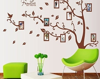 Wall decal / Peel and Stick wallpaper Family Tree/ Photo frame stick on the wall tree 7x5.2 ft