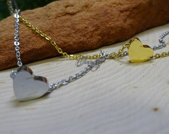 Gold & Silver Double Layer Heart Pendant 18″ Stainless Steel Necklace