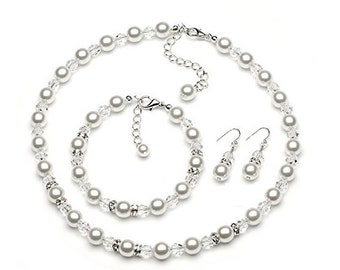 Pearl Necklace Sets with Crystals Bead ,Rhinestone Bridesmaids ~ Bridal Jewelry Gift