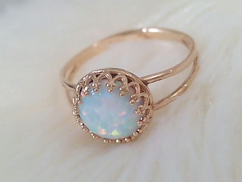 white opal ring gold ring white opal gold white by jewelryglow