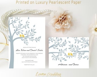 Tree wedding invitations and RSVP cards printed on shimmer cardstock | Bird wedding invitations | Printed wedding invitation cards