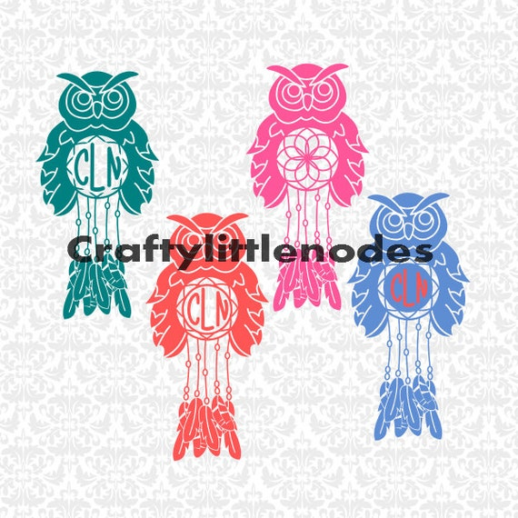 Owl Monogram Dreamcatchers SVG STUDIO Ai EPS Scalable Vector Instant Download Commercial Use Cutting File Cricut Explore SIlhouette Cameo
