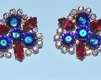 Signed Beau Jewels  Earrings Clip On Jewelry Earrings Brilliant Multi Colored Rhinestones
