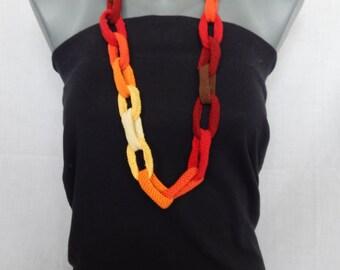 Crochet necklace Fiber necklace Chain link necklace  Orange OOAK necklace