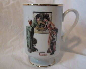 "Vintage Porcelain Norman Rockwell Pedestal Mug Coffee Cup, dated 1981 September, by The Danbury Mint, titled ""Back To School"""