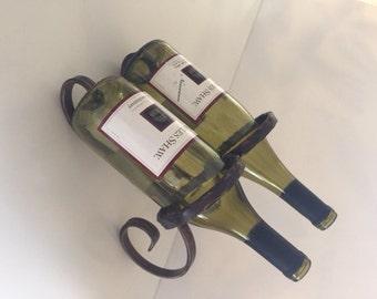 Wrought Iron bouble wine bottle holder