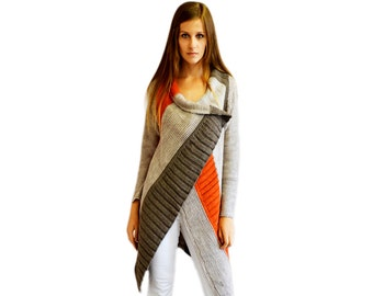 Asymmetric strips Cardigan