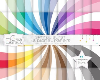 Spiral burst rainbow paper pack - 48 digital papers - INSTANT DOWNLOAD