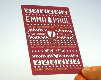 Illustrative Folk laser cut wedding invitation and RSVP set