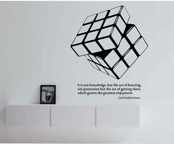 Rubik 39 s cube wall decal with quote vinyl sticker art decor for Interior design bedroom quotes