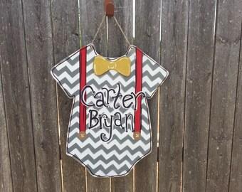 """18"""" Baby door hanger wall decor onesie chevron"""