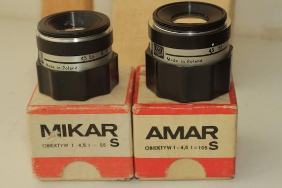 Old Poland PZO ObjectIive AMAR S f=105 & MIKAR S f=55 two Lens ж