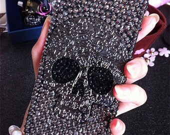 Punk Metal Silver Skull Bling Lovely Fashion Sparkles Charms Glossy Jewelled Crystals Rhinestones Diamonds Hard Cover Case for Mobile Phone