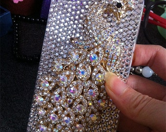 Bling Luxury Cute AB 3D Peacock Sparkly Chic Gems Crystals Rhinestones Diamonds Gemstones Fashion Lovely Hard Cover Case for Mobile Phones