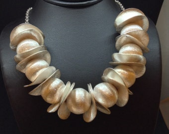 Brushed sterling silver statements necklace
