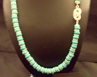 3 piece turquoise jewelry set with sterling silver