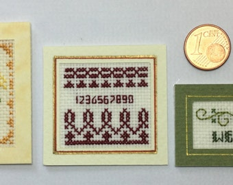 samplers and alphabets embroidered cross-stitch, 1/12 scale