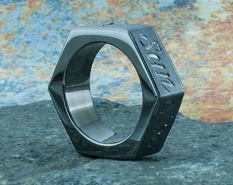Tire tread band black silver plated silver mud bogger for Super swamper bogger wedding ring