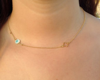 Evil eye necklace, gold eye necklace, four leaf clover necklace, bridesmaid gift, protection necklace, clover necklace, gold clover necklace