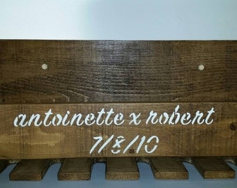 Personalised wall mounted solid wood rustic wine rack and glass holder
