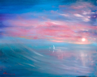 """Original Abstract Painting 40x50 cm Oil on Canvas """"seascape"""""""