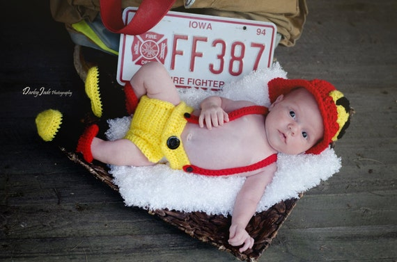Infant Crochet Fire Fighter outfit