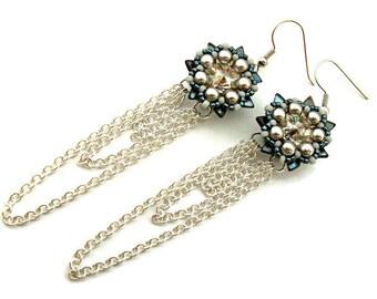 BEADING PATTERN, TUTORIAL for Daenerys Long earrings Shoulder dusters Swarovski rivoli Pearls Toho eTUTORIAL Beadwork Beadweaving