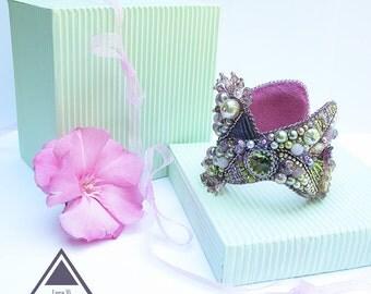 Embroidery Cuff Bracelet Handmade Embroidered Bracelet Lavender Lilac pastel shades Statement Women Bracelet OOAK Summer Trends Jewelry Best